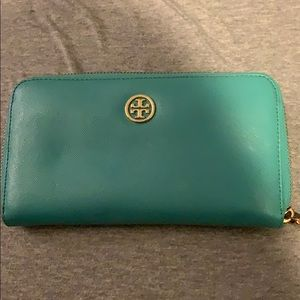 Tory Burch never used teal wallet